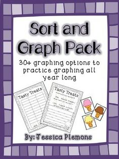 Sort and Graph Pack: Students can complete graphs whole group, small group, or in a center. Students will sort the cards and then complete the graph. Then students analyze their data and write about their graph. Students learn to write about things other than just the items that have the most/least (which is why they list those before writing).   There are 30+ graphs, response pages and matching cards for sorting included for a years worth of graphing.