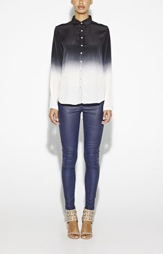 Black and white ombre shirt