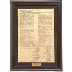 """US Constitution Framed Print -$149.99- Can You Recite It? Bring history to life with our series of Historic Framed Prints   Constitution Print The US Constitution print is beautifully done on a 1700s parchment-style paper and features a brass plaque with the year it was adopted. Measures 17"""" x 23""""."""