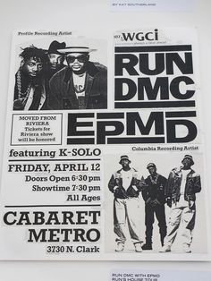 Looking at a RUN DMC & EPMD concert poster from around 1990