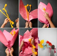 Giant paper flower wall installation #diy#paper#flower#love