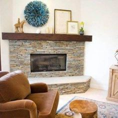Stone Corner Fireplace Design For Living Room With Open Shelf , Corner  Fireplace Design Ideas In