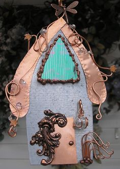 Crystal Rainbow Fairy House - Stained Glass - Copper Steel Sculpture- Dragonfly - Mixed Media - Metal Wall Art on Etsy, $84.00