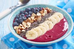 Acai Bowl Recipe Ingredients 4 tbs acai powder 1 cup frozen raspberries 1 cup frozen strawberries 1 cup almond milk or coconut water 1/2 cup baby spinach leaves 1 tsp honey  Toppings Banana Almonds Blueberries Chia Seeds