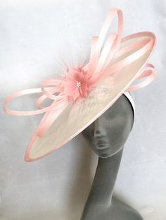 KATE White & Dusky Pink Ladies Hatinator Fascinator Hat Headpiece for Weddings, Mother of the Bride, RoyalAscot, Kentucky Derby, Epsom Derby by BEVERLEYSBOUTIQUE123 on Etsy