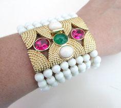 Ciner Large Multistrand Bracelet White Beads 8 by looseendsvintage