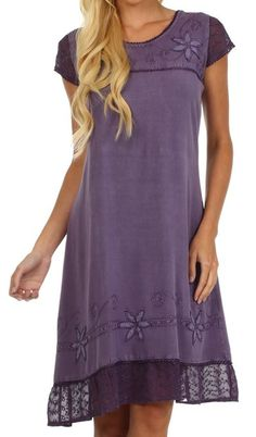 Embroidered Dress, Purple comes in 5 colors Under $27 Def Planet