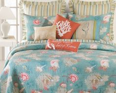 Teal and Coral Santa Catalina Quilt Set.  Browse the Ultimate Guide to Beach Themed Bedding Sets!