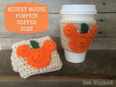 Mickey Mouse Pumpkin Coffee Cozy by GetHookedbyLori on Etsy https://www.etsy.com/listing/248010117/mickey-mouse-pumpkin-coffee-cozy