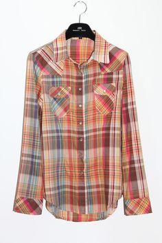 #SheInside Cow Girl Colorful Plaid cotton shirt