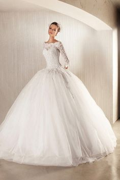 Glamorous Ball Gown Lace Long Sleeves Wedding by hzweddingdress, $38.00