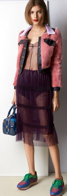 Burberry SS15 A rose pink cropped jacket with denim and patent detail