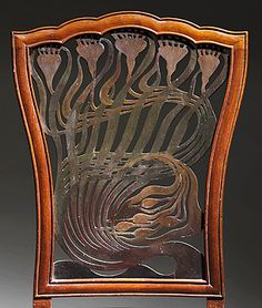 Arthur Heygate Mackmurdo (1851–1942), for the Century Guild, Chair, ca. 1882, mahogany, leather, painted decoration. Photo courtesy of The Huntington Library, Art Collections, and Botanical Gardens and the Los Angeles County Museum of Art