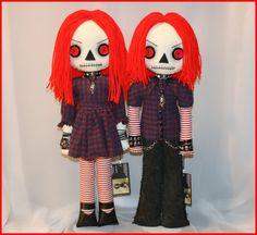 OOAK Hand Stitched Raggedy Ann & Andy Inspired Dolls Creepy Gothic Folk Art By Jodi Cain