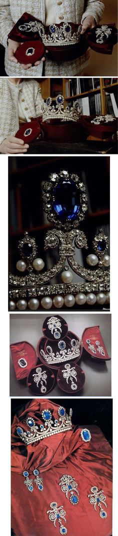 Queen Marie-Amélie's Sapphire, Diamond, and Pearl Tiara and Parure, France (1830; made by Bapst). Came from Hortense de Beauharnais; may have belonged to her mother, Empress Josephine. Hortense sold them to King Louis-Philippe. His wife Queen Marie Amelie (Marie Antoinette's niece) remodeled them. Now in the Louvre.