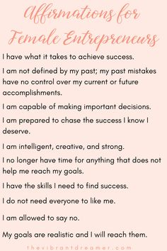 Are you a female entrepreneur who has trouble staying motivated and inspired? Check out these ten affirmations for female entrepreneurs to help get you back on track! Positive Affirmations Quotes, Affirmations For Women, Self Love Affirmations, Law Of Attraction Affirmations, Affirmation Quotes, Positive Quotes, Affirmations For Success, Miracle Morning Affirmations, Wealth Affirmations