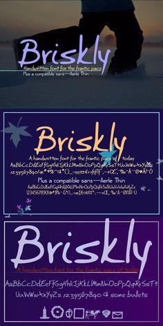 Briskly script & Aerle Thin sans. Script Fonts. $11.00