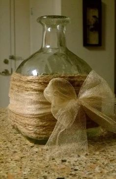 upcycled patron bottle vase - can you tell I love bottles and jars? Reuse Wine Bottles, Recycled Bottles, Wine Bottle Crafts, Bottles And Jars, Jar Crafts, Crafts To Do, Patron Bottles, Liquor Bottles, Glass Bottles
