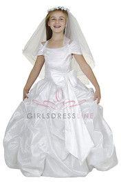 Click to enlarge : White Big Bow Princess Pick Up Flower Girl Dress B1094-WH