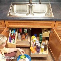 How to Build Kitchen Sink Storage Trays - 60+ Innovative Kitchen Organization and Storage DIY Projects