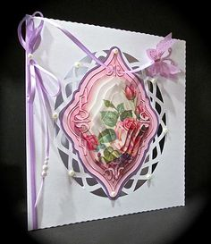 Card Gallery - Pink Roses & Violets Diamond Shaped Pyramage Topper