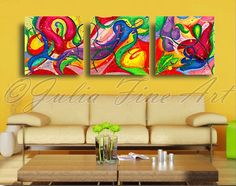 48''ORIGINAL Floral TRIPTYCH Abstract by JuliaFineArtGallery
