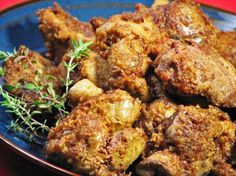 Southern Fried Chicken Livers - I get hungry for chicken livers once or twice a year, and I like the flavor of them sauteed in bacon grease! Saute them in whatever you prefer! Chicken Liver Recipes, Onion Recipes, Meat Recipes, Cooking Recipes, Goose Recipes, Rabbit Recipes, Cajun Cooking, Skillet Cooking, Skillet Recipes