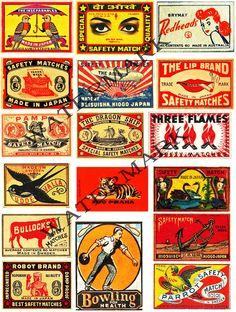 Vintage Safety Match, Matchbook Clip Art, SCRAPBOOK Collage, Tag Making Supply, Vintage EPHEMERA, Altered Art Supply, Collage Clip Art, 158 by retrowallart on Etsy