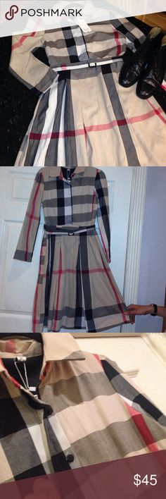 "Tan/Red/Black Plaid Preppy Tailored Dress Gorgeous reminds me of another brand that starts with a ""Bur"" and ends with a ""Berry"" brand new with tags. Supposed to be a large BUT no way!! A small-med is much more like it. Dresses Midi"