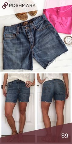 "American Rag Denim Shorts American Rag Denim Shorts | size 30; 100% cotton (fit like a 6, imo!) | classic cut-off denim shorts with 5-pocket styling, zip fly | whiskering across front, raw edge leg openings .  EUC, no flaws . 15.5"" waist 19.5"" hips 10.5"" rise 5.5"" inseam Shorts Jean Shorts"