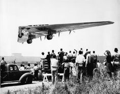 Northrop's Flying Wing Bomber, XB-35, takes off on its maiden flight, Hawthorne, California, June 26, 1946.