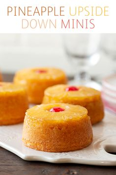 Now you can have a classic pineapple upside down cake all to yourself. These minis are too good to share. They look amazing and will steal the show on any dessert table. They're easy to make and made with Dole Pineapple Slices in Pi Desserts For A Crowd, Desserts To Make, Köstliche Desserts, Delicious Desserts, Italian Desserts, Individual Desserts, Spring Desserts, Dole Pineapple, Pineapple Desserts