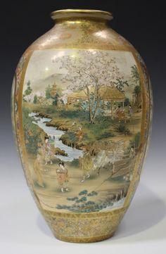 Japanese Vase, Japanese Porcelain, Japanese Prints, Japanese Design, Chinese Ceramics, Japanese Ceramics, Satsuma Vase, Oriental Pattern, Japanese Beauty