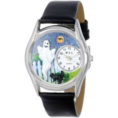 Whimsical Watches Halloween Ghost Black Leather Watch (275 DKK) ❤ liked on Polyvore featuring jewelry, watches, fillers, leather jewelry, kohl jewelry, black watches, black wrist watch and black jewelry