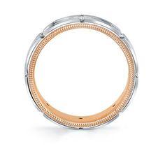 Verragio 14K White And Rose Gold 6mm Diamond Wedding Band