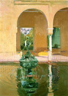 The Fountain in the Alcázof Seville, 1908 - Joaquin Sorolla y Bastida Spanish Painters, Spanish Artists, Architecture Unique, Alcazar Seville, Painter Artist, Virtual Art, Art Database, Land Scape, Painting Inspiration