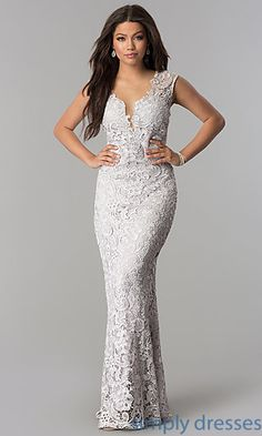 Shop long lace prom dresses with sheer backs at Simply Dresses. Formal evening gowns under $100 with rhinestones and illusion necklines and backs.