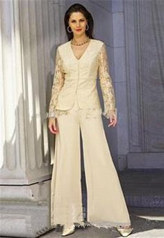 Applique lace long Sleeves 2pc Sequins Mother Of the Bride Pant Suits with jacket Mother Dresses