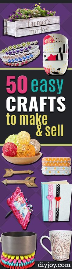 Easy Crafts To Make and Sell - Cool Homemade Craft Projects You Can Sell On Etsy, at Craft Fairs, Online and in Stores. Quick and Cheap DIY Ideas that Adults and Even Teens Can Make diyjoy.com/...