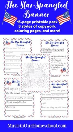 """Free Online Patriotic Music Lesson ~ Get a printable pack with copywork of the first verse of """"The Star-Spangled Banner."""" There are 3 styles of copywork: regular, dotted, and cursive. Also find 2 coloring page. Online Music Lessons, Music Lessons For Kids, Music Lesson Plans, Kids Music, Music Activities For Kids, Learning Activities, Banners Music, Star Spangled Banner, Teaching Music"""
