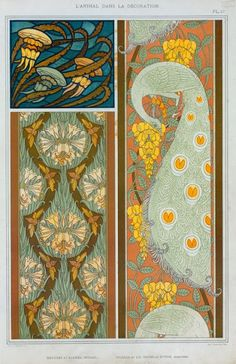 Eugène Grasset, two plates from L'animal dans la décoration, 1897,   from NYPL Digital Gallery