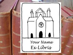 "Bookplate stamp or stickers  ""Cathedral"", librarian stamp, exlibris stamp, personalized exlibris, custom bookplate, bookplate stickers 142"