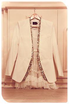 white blazer with gold sequin trim + white lace dress
