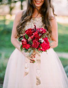 ramo de novia flores rojas