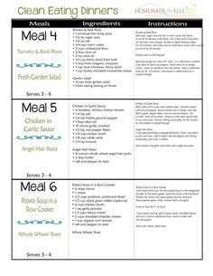 Clean+Eating+Meal+Plan+-+Week+4+|+homemadeforelle.com