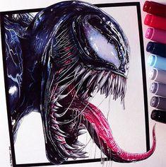 Most Amazing Venom Movie Fan Art Illustrations & Drawing Artworks by Designers - Marvel + DC Tattoo - Venom Movie, Film Venom, Art And Illustration, Art Illustrations, Cool Art Drawings, Art Drawings Sketches, Venom Tattoo, Dc Tattoo, Colored Pencil Drawings