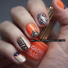 Orange Abstract Nails