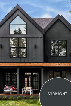This black exterior has a hint of green and is perfect for a home in a forest setting. Best House Colors Exterior, Exterior Paint Color Combinations, Exterior Paint Colors, Dark Paint Colors, Best Exterior Paint, Modern Color Schemes, Exterior Color Schemes, House Paint Exterior, Exterior Homes