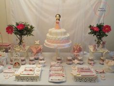 Pink, shabby chic, vintage baptism party! See more party ideas at CatchMyParty.com!