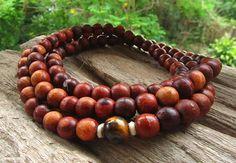 108 Mala Bead Long Beaded Necklace with Tigers Eye Gemstone